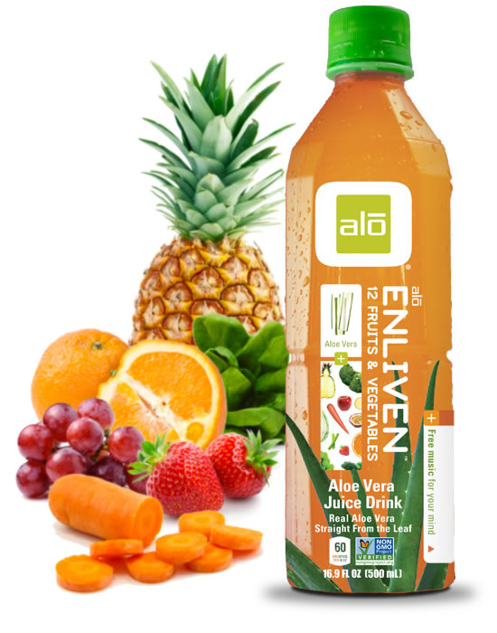 Aloe vera with a farm-fresh vegetable and fruit juice medley, including spinach, passion fruit, carrot, pineapple, apple, orange and strawberry juices